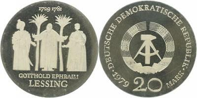 DDR 20 Mark 1979 (A) - Lessing - Auflage: 4.521 - J 1571 - PP in Kapsel