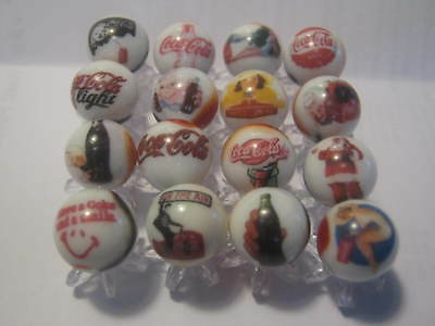 Coca Cola Soda Pop Glass Marbles 5/8 Size with stands
