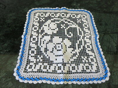 "Vintage Crochet Edge Doily - White - Blue - 14"" By 12"""