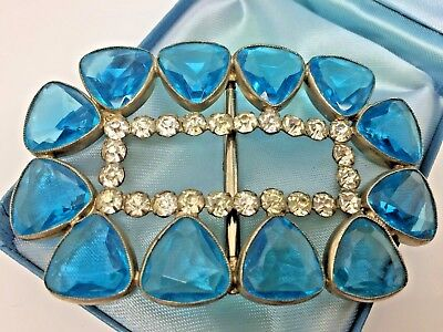 Vintage Jewellery ART DECO CZECH Oversized Aqua Glass Stone Dress BUCKLE