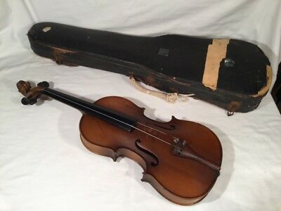 Antique Full Size Two Piece Back Violin With Bow