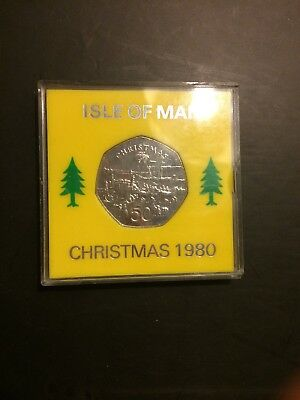 "1980 ISLE OF MAN CHRISTMAS 50p COIN IoM STEAM PACKET BOAT DIE ""AA"" MANX XMAS"