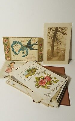 Lot Of 37 Vintage Antique Postcards Very Early 1900's Variety Floral Best Wishes