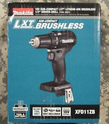 """Makita XFD11ZB 18V LXT Lithium-Ion Sub-Compact Brushless Cordless 1/2"""" Drill New"""