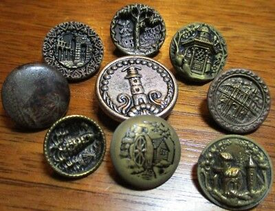 "Antique Lot of 9 Picture Buttons~""BUILDINGS-TREE & SCENES"" Vintage Metal"