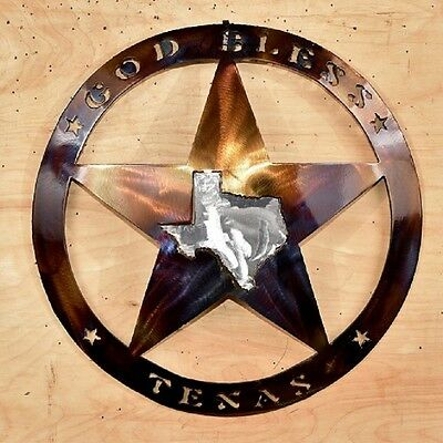 """God Bless Texas Plaque 14"""" dia with a Star and the Texas Outline"""