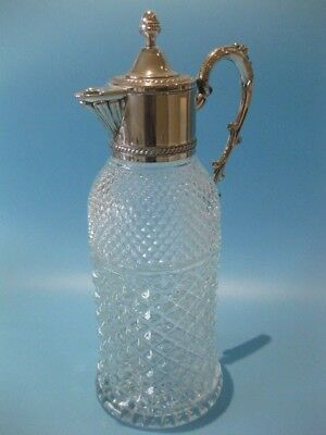 Exceptional Antique Silver Plated Figural Handled Italian Made Claret Decanter