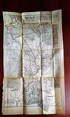 Rare 1899 Military Scetch Map Central Luzon Gen McArthur Philippines Manilla Bay