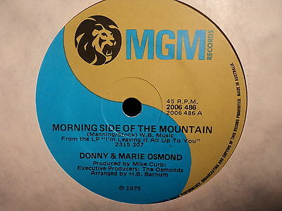 """Donny & Marie Osmond """"Morning Side Of The Mountain"""" Rare Oz 7"""""""