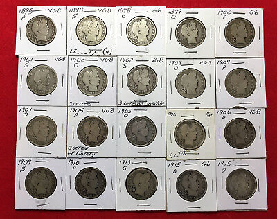 (20)1898-1915 Barber Half Dollars from various Mints