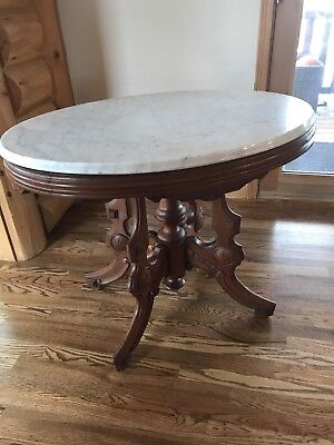 Antique Walnut Victorian  Marble Top Carved Oval Solid Console Hall Table