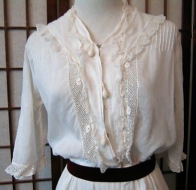 Antique 1915 Lingerie Tea Dress Lace Cotton White WW1 Vintage Downton Edwardian
