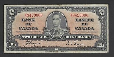 Canada 2 Dollars 2-1-1937 P59 Issued Note Fine