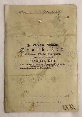 Antique 1869 Apothecary Drug Store Medical Prescription Cleveland OH