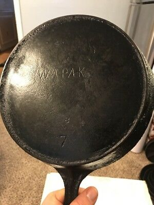 Vintage Antique Wapak # 7 Cast Iron Skillet with Heat Ring