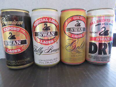 collectable beer cans Swan  375 ml  x  4