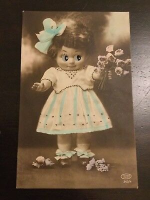 Antique doll old postcard googly glass eyes novelty card