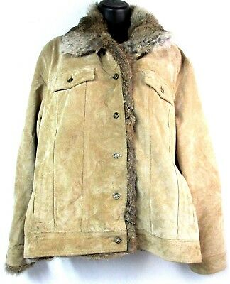 Wilsons Leather Maxima Womens XL Tan Suede Leather Rabbit Fur Trim Lined Coat