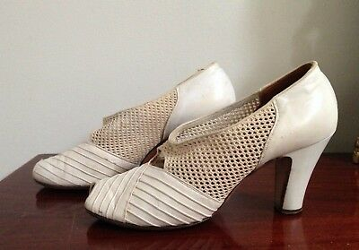 vintage shoes KAYS NEWPORT bone BEIGE off white fabric leather 6 6.5 SELBY