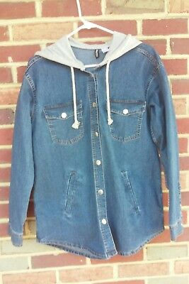 077f387e2094 Divided by H&M Ladies Blue Hooded Denim Jacket Jean Hoodie HM Style Fashion  ...