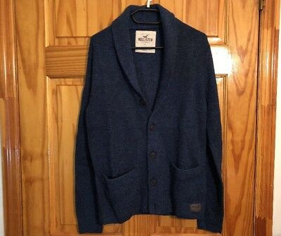 HOLLISTER by Abercrombie Shawl Cardigan Sweater Navy NWT Front Pocket Size M 1c0555394