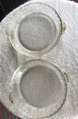 "2 Pyrex Fluted Edge #229 Clear Glass 10"" Deep Dish Pie Plate With Handles Two"