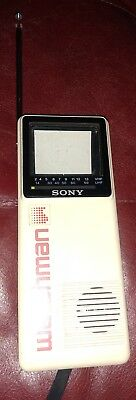 "Vtg Sony Watchman FD-10A Small Portable black white TV 2"" screen"