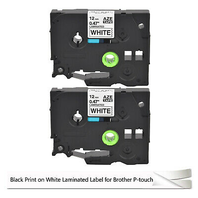 2PK TZ-231 Black on White Laminated Label Tape 12mm Ptouch Brother TZe231 TZE231