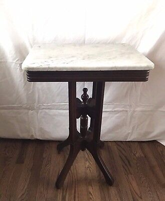 Antique Walnut Victorian Eastlake Marble Top End Side Table