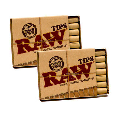 2 Packs RAW Original Pre Rolled Tips Natural Unrefined Cigarette Filter 42pc USA