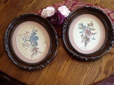 Beautiful Pair of Oval Floral Pictures in Ornate Frames