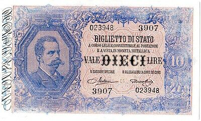 Italy 10 Lire P20h 1923 Uncirculated. Very Rare!