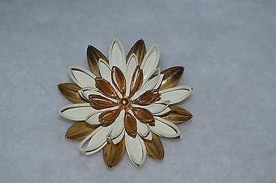 """Sarah Coventry - Water Lily Brooch  Pin - 1966 - 2 1/2"""" Dia - Vintage"""