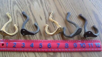 5 Matching Antique Wall Hooks -  2 Painted, Original Old Coat Rack Hooks