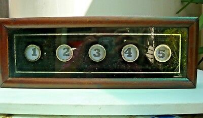 Antique butler's/servant's room call indicator for 5 rooms in old dovetailed box