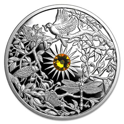 "Niue 2017 $5 The Four Seasons ""SUMMER"" 2oz Silver .999 SUNFLOWER CRYSTAL INLAY"