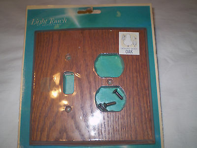 Geniune Solid Oak Single Light Switch Plate Outet Cover Combo