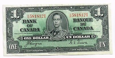 1937 Canada One Dollar Note 'coyone/towers'
