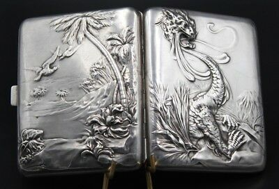 Chinese Dragon Sterling Silver Cigarette Case