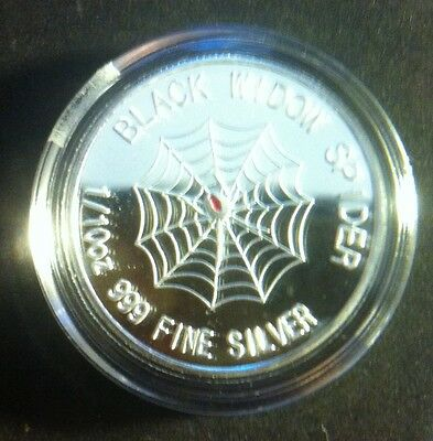 "1/10th OZ 999.0 Pure Silver Bullion Coin  ""Black Widow Spider"" (Gr8 Investment)"