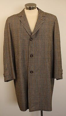 "Large Reg 40 , Wool Check, Original Vintage Long Mens Coat. ""apollo"""