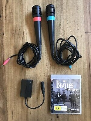 2 x PS3 Singstar microphones and Beatles Rockband Disk
