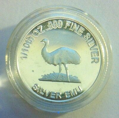"1/10th Oz 999.0 Pure Silver Bullion Coin, ""Emu"" (Aust Series) 14 to Collect"