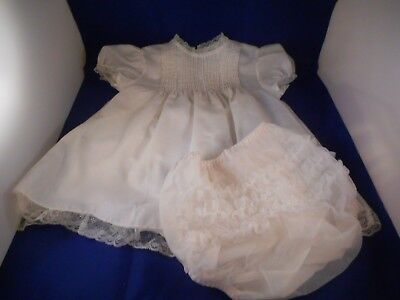 3 Pc Vintage 1960s  Baby Girl Clothing Christening Dress Gown Cherubs Ruffled
