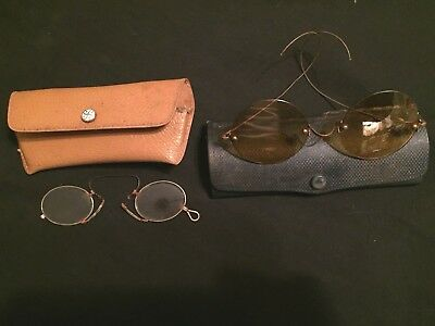 2 Antique Reading Glasses with Yellow and Clear Lenses and Eyeglass Cases