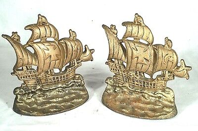 Large Pair Of Vintage Cast Iron Spanish Gallion Ship Bookends