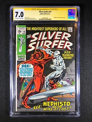Silver Surfer #16 CGC 7.0 SS (1968) - Signed Stan Lee - Mephisto & Nick Fury app