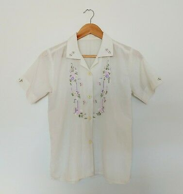Vintage 70s Embroidered Blouse Size S/10 Hand Embroidered Top