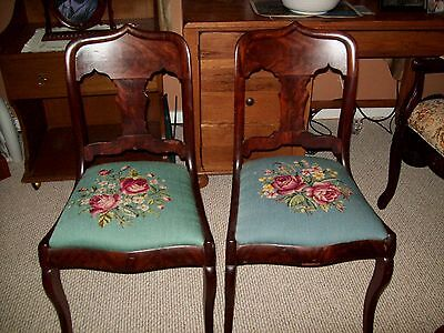 "Antique Chairs Needle Point Seats Set Of 2  34""H Early 1900s"