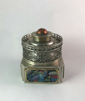 Square Paktong Opium Lamp w/ Gallery & Cloisonne, No Glass, circa 1900